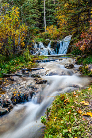 Cascading stream at Big Hill Springs Provincial Park near Calgary in Alberta. A favorite park for hiking and picnics, its series of small waterfalls and streams flow year-round over rocky tufa mounds