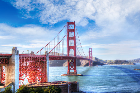 Scenic view of the Golden Gate Bridge in San Francisco, California. The landmark bridge is one of the most internationally recognized symbols of San Francisco and the United States. Stock Photo