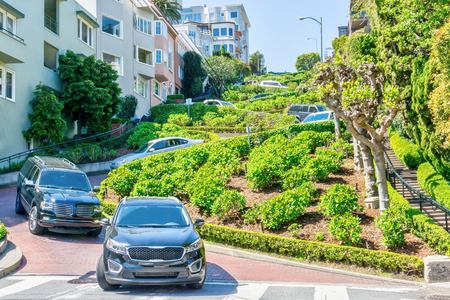 San Francisco Lombard Street, famous for its steep, one-block section of 8 hairpin turns dubbed the crookedest street in the world. It is a major attraction in the Russian Hill neighborhood with 2 million visitors a year.