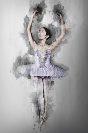 Illustrative rendering of a young Asian ballerina wearing purple tutu and pointe shoes dancing. Computer generated artistic sketch. Reklamní fotografie