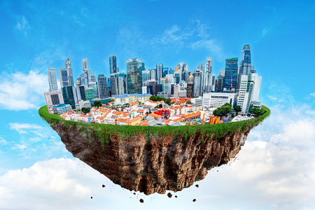 Fantasy floating island of Singapore cityscape levitating in the air on a cloudy sky.