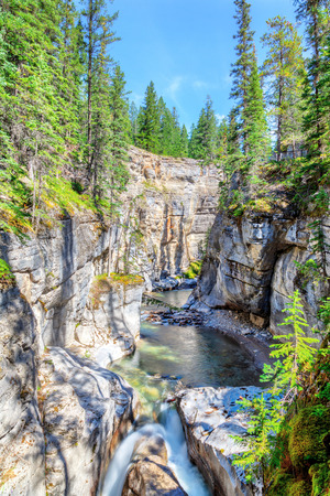 Maligne Canyon in Jasper National Park is constantly being eroded by the churning and swirling of the water from the Maligne River