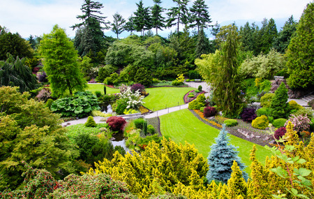 Queen Elizabeth Park in Vancouver. At 152 metres above sea level, the public park is the highest point in Vancouver with spectacular views of the city and mountains on the North Shore.
