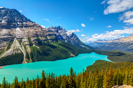 Peyto Lake as viewed from Bow Summit in Banff National Park on the Icefields Parkway. The glacier-fed lake is famous for its bright turquoise colored waters in the summer.