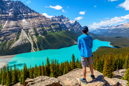 A teen hiker looks at Peyto Lake from Bow Summit in Banff National Park on the Icefields Parkway. The glacier-fed lake is famous for its bright turquoise colored waters in the summer. Stock Photo