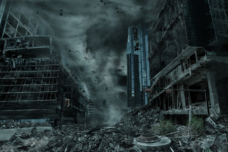 A cinematic portrayal of a city destroyed by a typhoon, hurricane or tornado twister. Concept of natures destruction of a fictitious disaster scene.