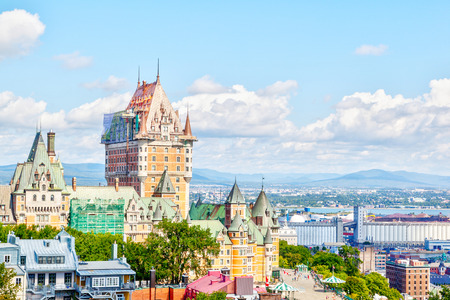 View of Old Quebec skyline and surrounding landscape with Chateau Frontenac, Dufferin Terrace boardwalk and the Saint Lawrence River in Quebec City, Quebec, Canada.