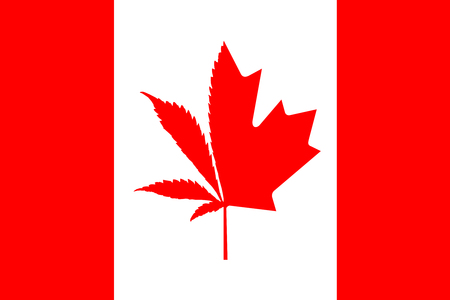 Illustration of Canadian flag with half cannabis plant and half maple leaf. Concept of legalization of marijuana in Canada in 2018.