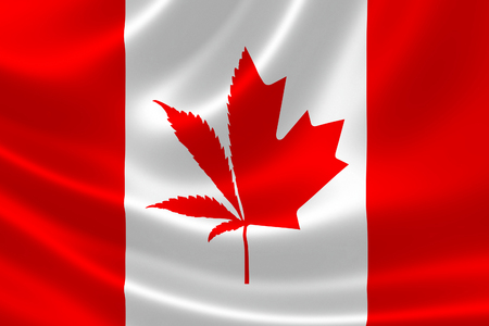 3D illustration of Canadian flag with cannabis plant and maple leaf symbol. Concept of legalization of marijuana in Canada in 2018.