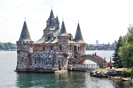ALEXANDRIA, USA - August 24, 2012: Historic Boldt Castle in the 1000 Islands region of New York State on Heart Island in St. Lawrence River. In 1900, millionaire George Boldt wanted to build a 6-story castle as a present to his wife Louise.