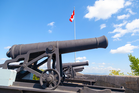 Historic cannons at the ramparts of Old Quebec City date back to 1608 and 1871 when French and British forces fought to control the strategic Citadelle