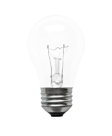 Single electrical incandescent light bulb isolated on white background. Imagens
