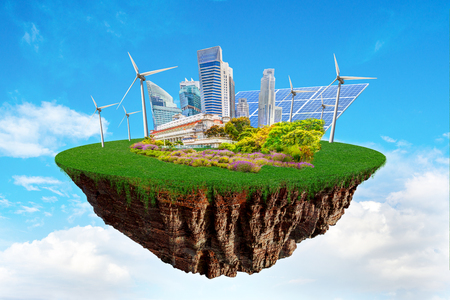 Fantasy floating island with clean nature city relying on renewable resources. Concept of sustainable ecological future and alternative energy of an eco friendly planet. Banco de Imagens - 113540318