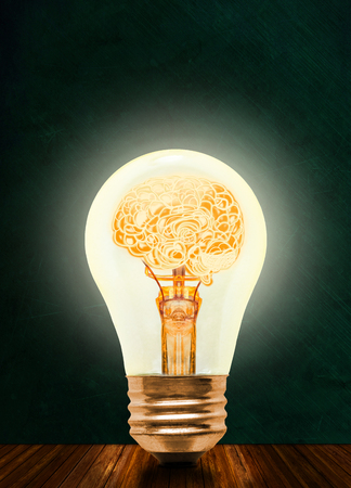 Anatomy of a human brain glowing inside illuminated light bulb with blackboard background and copy space. Concept of bright idea, brainstorming, intelligence, being smart, creative and a genius. 스톡 콘텐츠
