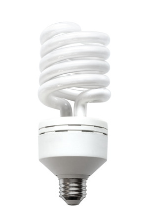A compact fluorescent lamp (CFL), also called compact fluorescent light, energy-saving light bulb isolated on white background. 写真素材