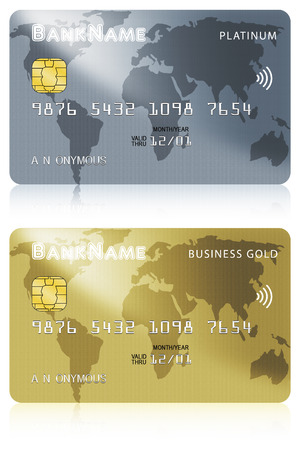Two debit or credit card illustrations of platinum and business gold versions isolated over white background.