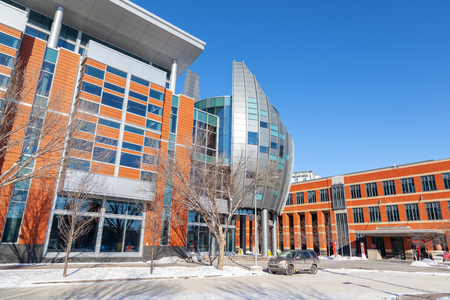 CALGARY, CANADA - FEB 14, 2019: The Southern Alberta Institute of Technology or SAIT polytechnic started in 1916 in Calgary and is the third largest post-secondary institute in Alberta, Canada. SAIT is a highly recognized technology trade school.