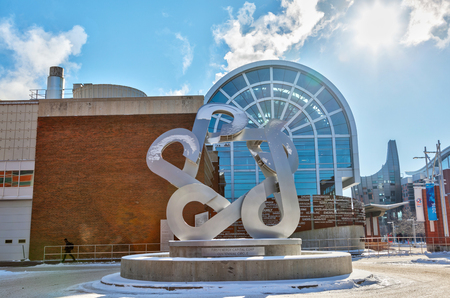 CALGARY, CANADA - FEB 14, 2019: The sculpture known as The Catalyst was installed on the Southern Alberta Institute of Technology's campus as part of SAIT's centennial celebrations in 2017. SAIT is a highly recognized technology trade school in Canada.