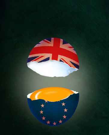 Political concept of Brexit illustrated by cracked egg with flags of UK and European Union, showing egg yolk representing benefits in the EU half while Britain leaves empty handed. Stok Fotoğraf