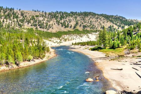 Yellowstone River overlook at Tower Fall in Yellowstone National Park 스톡 콘텐츠