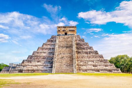 Famous Pyramid of Kukulcan at Chichen Itza, the largest archaeological cities of the pre-Columbian Maya civilization in the Yucatan Peninsula of Mexico. it is one of the New Seven Wonders of the World.