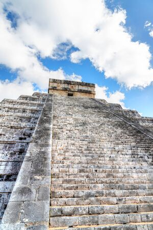 Famous Pyramid of Kukulcan or El Castillo at Chichen Itza, the largest archaeological cities of the pre-Columbian Maya civilization in the Yucatan Peninsula of Mexico. it is one of the New Seven Wonders of the World.