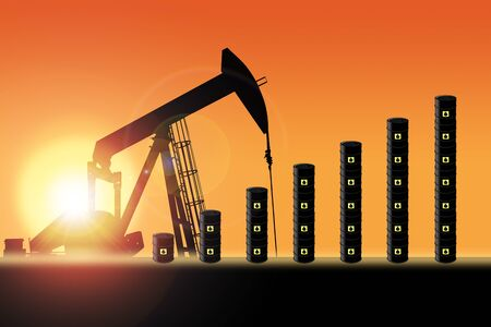 Rows of oil barrel drums increasing in bar chart format with pump jack silhouette against a sunset sky with deliberate lens flare and copy space. Concept of increasing oil production output or rising oil prices.