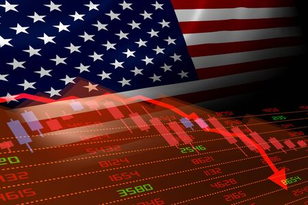 United States economic downturn with stock exchange market showing stock chart down and in red negative territory. Business and financial money market crisis concept in the U.S. Stock Photo