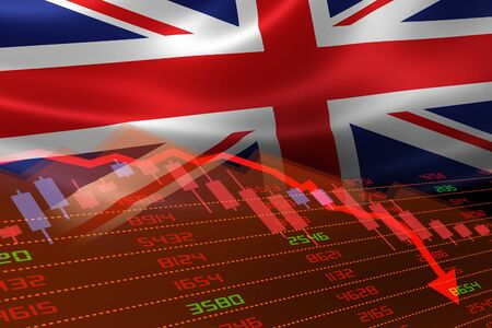UK economic downturn with stock exchange market showing stock chart down and in red negative territory. Business and financial money market crisis concept. Stock Photo