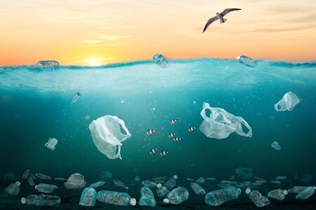 Marine pollution concept showing sunrise over ocean full of plastic trash. At least 8 million tons of plastic end up in oceans every year and make majority of marine debris from surface waters to deep-sea sediments.