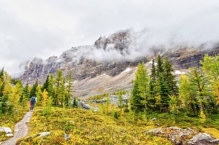 Hikers seen on the the Opabin Trail at Lake O'Hara in the Canadian Rockies of Yoho National Park while heavy clouds descend on Mount Shaffer.
