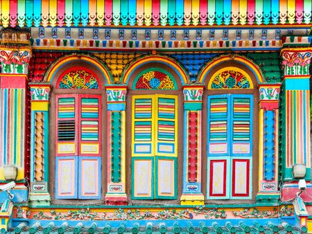 Colorful house of Tan Teng Niah in Little India. This last historic colonial style Chinese villa in Singapore was built in 1900 and is now a national heritage landmark. Stock Photo