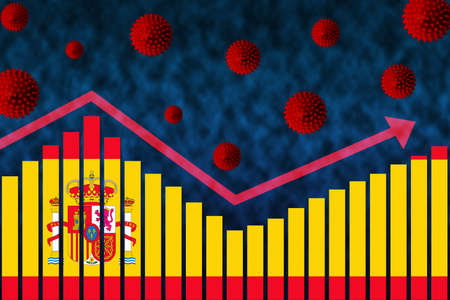 Flag of Spain on bar chart concept of COVID-19 coronavirus second wave infection cases following first wave illustrated by graph and virus symbols after easing of restrictions.