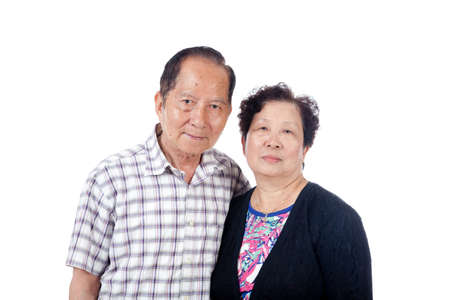 Married senior Asian couple portrait, isolated on white.