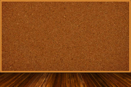 3D rendering of framed empty wooden corkboard on wood table background with copy space.