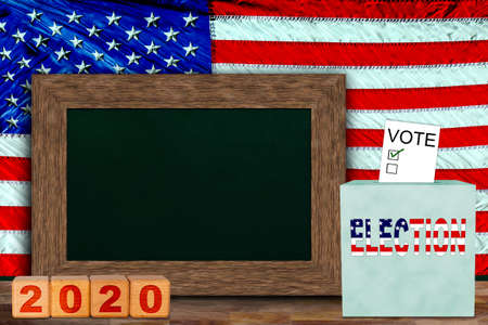 US elections concept with American flag hung behind wooden frame chalkboard for copy space, and ballot box with voter slip. Concept of presidential, senate and house of representatives elections in 2020.