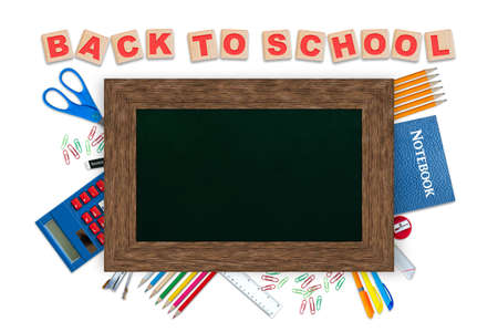 Back to school alphabet blocks, concept of education with stationery and chalkboard copy space on top isolated on white background. Banque d'images