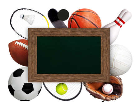 Framed chalkboard copy space on top of sports balls and equipment on white background. Sports theme.