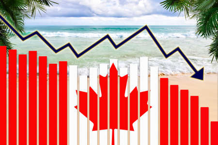 COVID-19 coronavirus pandemic impact on Canada tourism industry concept showing on the beach Banque d'images