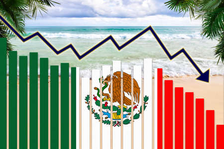 COVID-19 coronavirus pandemic impact on Mexico tourism industry concept showing on the beach