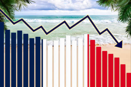 COVID-19 coronavirus pandemic impact on France tourism industry concept showing beach background with French flag on bar charts declining trend. Banque d'images