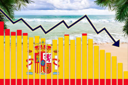 COVID-19 coronavirus pandemic impact on Spain tourism industry concept showing beach background with Spanish flag on bar charts declining trend.