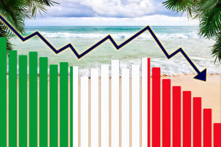 COVID-19 coronavirus pandemic impact on Italy tourism industry concept showing beach background with Italian flag on bar charts declining trend.