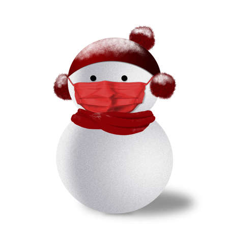 3D rendering of snowman wearing red face mask in Covid-19 Christmas concept with scarf, hat and ear muffs. Banque d'images