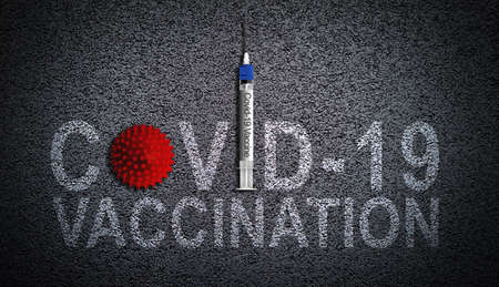 COVID-19 vaccination illustrated by virus and syringe needle vaccine on asphalt background. Putting a stop to coronavirus pandemic concept.