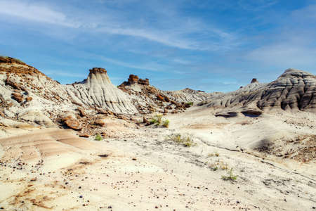 Dinosaur Provincial Park in Alberta, Canada, a noted for its striking badland topography and abundance of dinosaur fossils, one of the richest fossil locales in the world. Foto de archivo