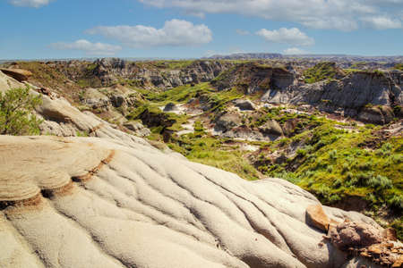 Dinosaur Provincial Park in Alberta, Canada, anoted for its striking badland topography and abundance of dinosaur fossils, one of the richest fossil locales in the world.