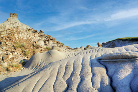 Dinosaur Provincial Park in Alberta, Canada, a Site noted for its striking badland topography and abundance of dinosaur fossils, one of the richest fossil locales in the world.