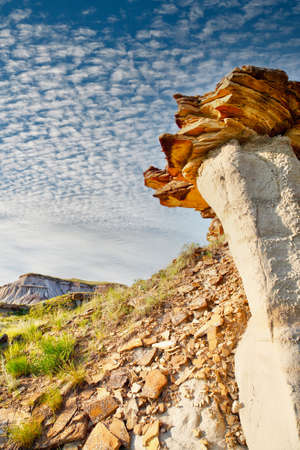 Dinosaur Provincial Park in Alberta, Canada, a noted for its striking badland topography and abundance of dinosaur fossils, one of the richest fossil locales in the world.