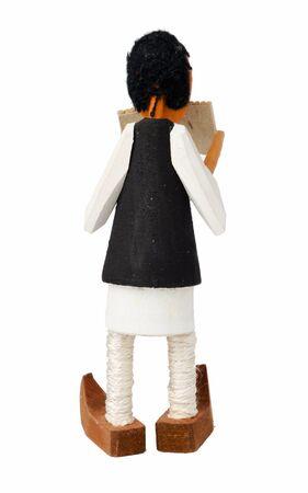 zampona: muñeco de madera que canta en el Pan-pipe Foto de archivo